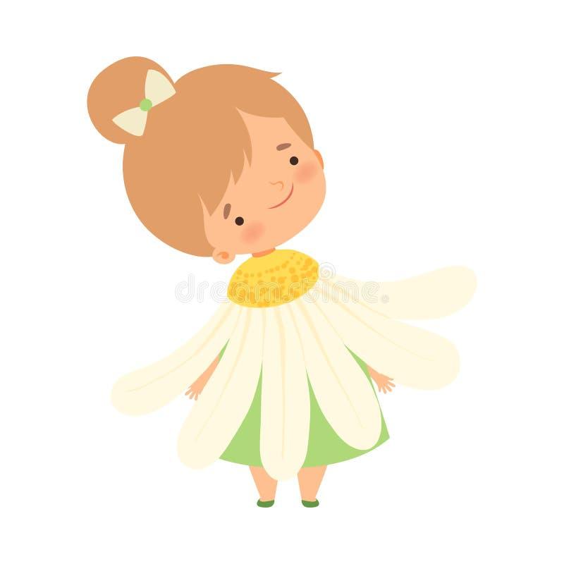 Hübsches kleines Mädchen-tragendes Kamillen-Blumen-Kostüm, nettes entzückendes Kind im Karneval kleidet Vektor-Illustration vektor abbildung