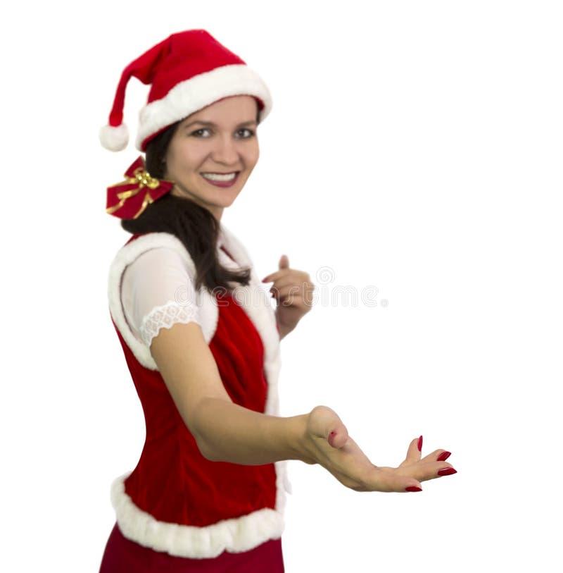 Hübsches Mädchen in Angebothändedruck Sankt-Kostüms lizenzfreie stockfotos