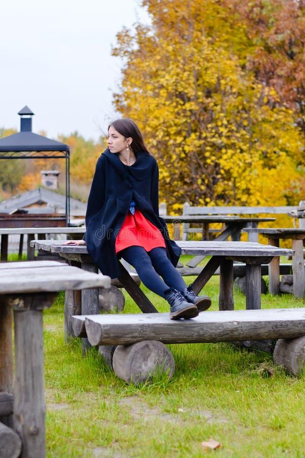 Hübsches Mädchen, das auf altem Holztisch im Herbst sitzt lizenzfreie stockbilder