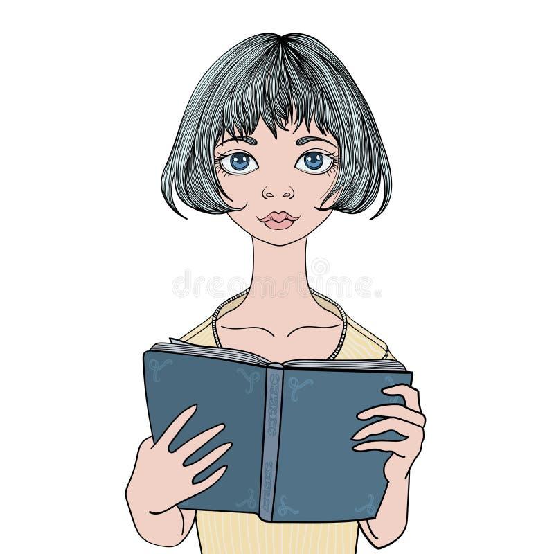 Hübsches Mädchen, das ein Buch liest Junge Frauen-Porträt Vektorillustration, lokalisiert auf weißem Hintergrund lizenzfreie abbildung