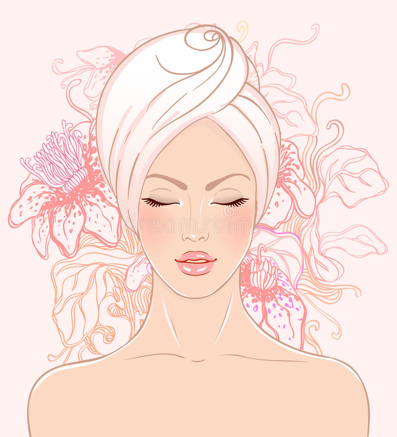 Hübsches Mädchen, das im Badekurortsalon sich entspannt vektor abbildung