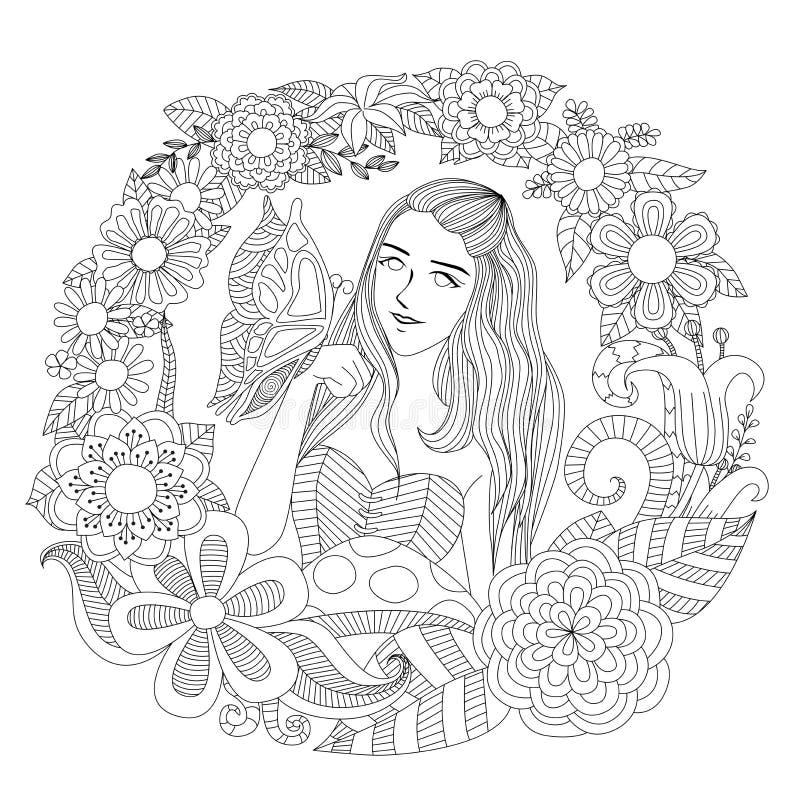 Hübsches Mädchen, das mit Schmetterling in der Blumengartenlinie Kunst für Färbungsseite für Erwachsenen spielt stock abbildung