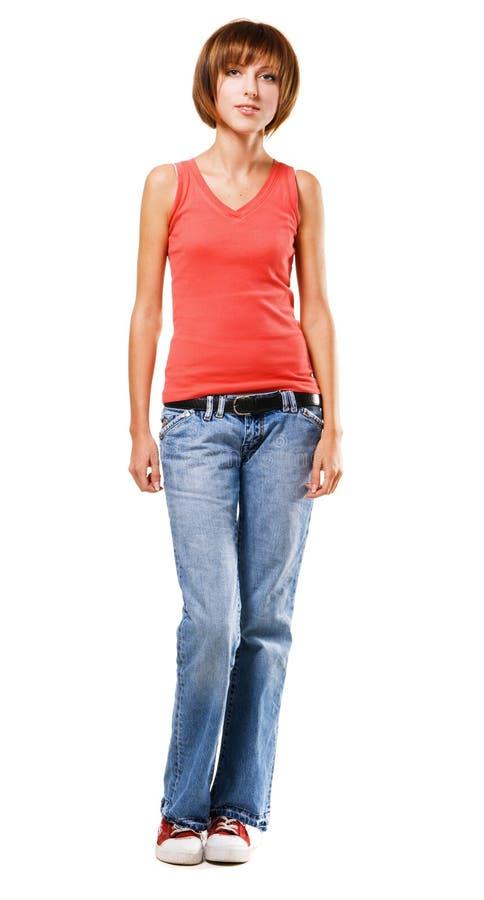 Hübsches Mädchen in der Kleidung der beiläufigen Art lizenzfreie stockbilder