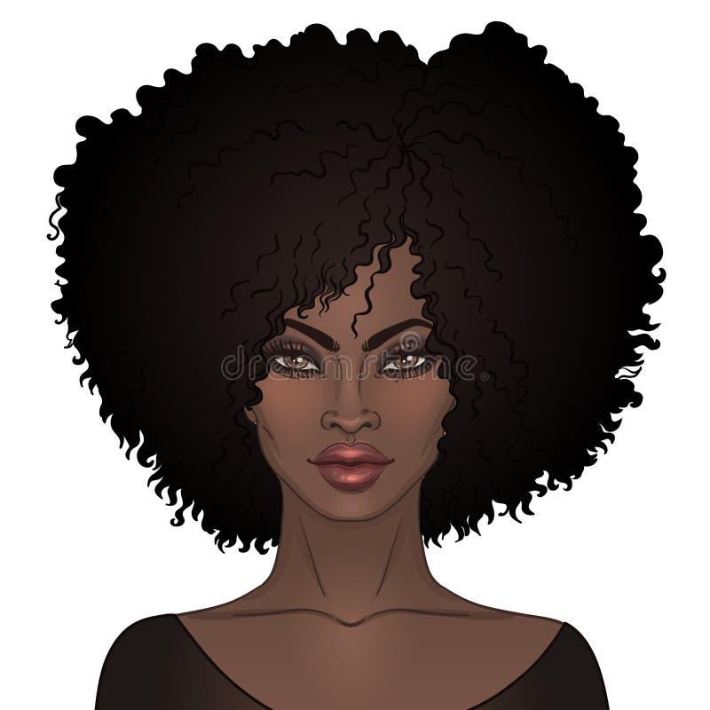 Hübsches Mädchen des Afroamerikaners Vektor-Illustration der schwarzen Frau stock abbildung