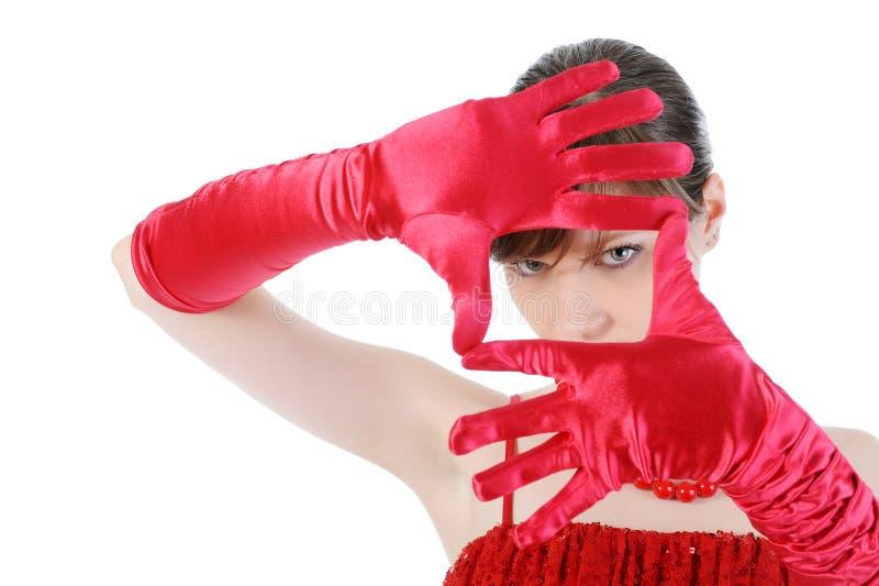 Hübsches Mädchen im Rot. lizenzfreie stockbilder