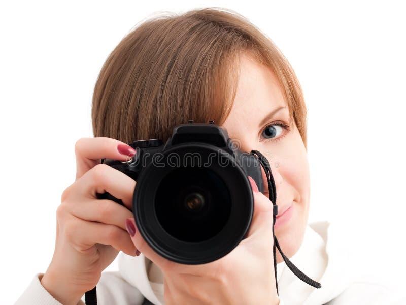 Hübsches Mädchen mit Fotokamera lizenzfreie stockfotos