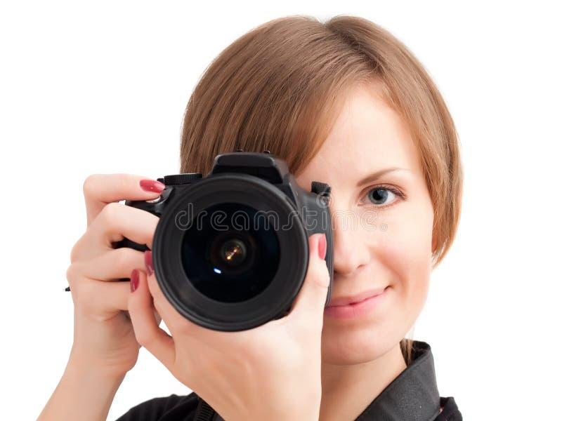 Hübsches Mädchen mit Fotokamera lizenzfreie stockbilder