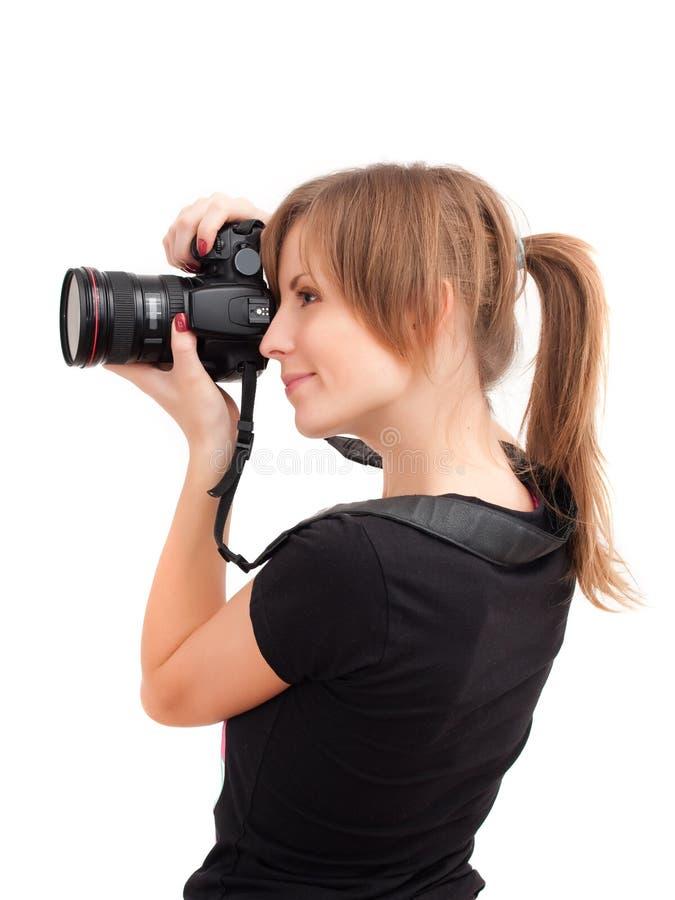 Hübsches Mädchen mit Fotokamera stockfotografie