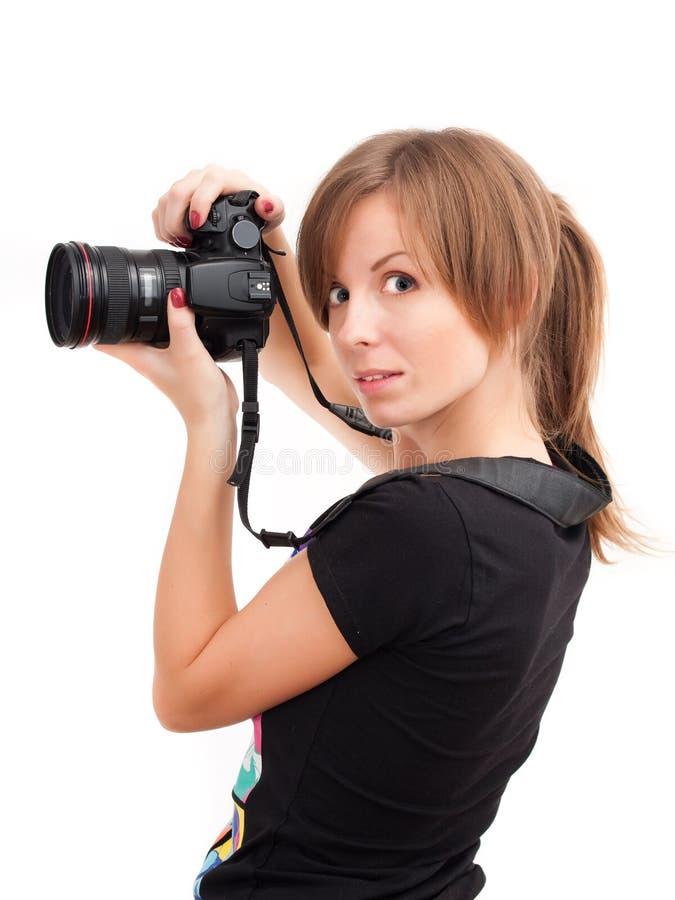 Hübsches Mädchen mit Fotokamera lizenzfreies stockbild