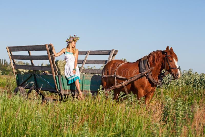 Hübsches Mädchen mit Wildflowers auf dem Pferdewagen am Sommertag lizenzfreie stockbilder