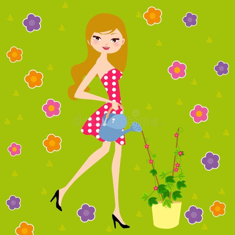 Hübsches Mädchen, welches die Blume wässert lizenzfreie abbildung