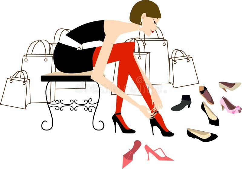 Hübsches Mädcheneinkaufen in einem Schuhsystem vektor abbildung