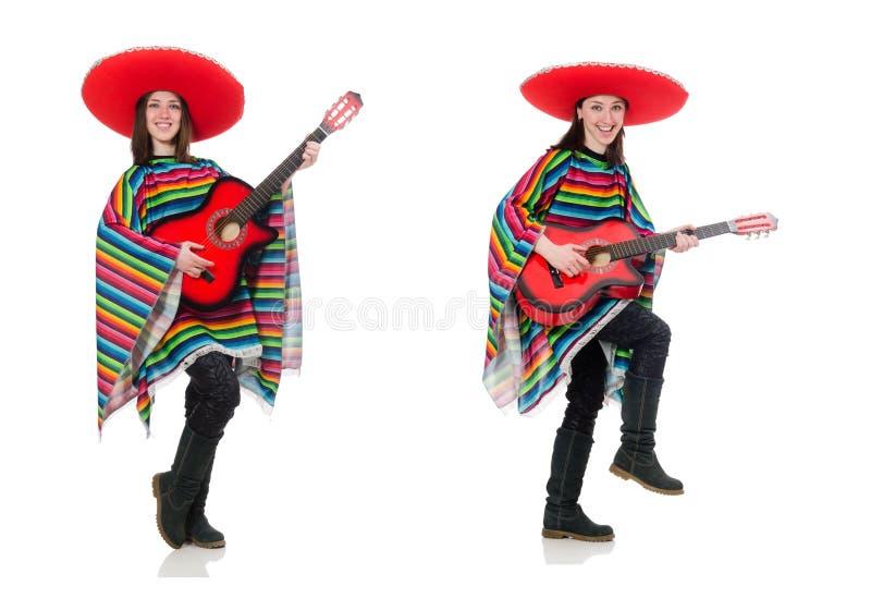 Hübsches mexikanisches Mädchen im klaren pocho lokalisiert auf Weiß stockbild