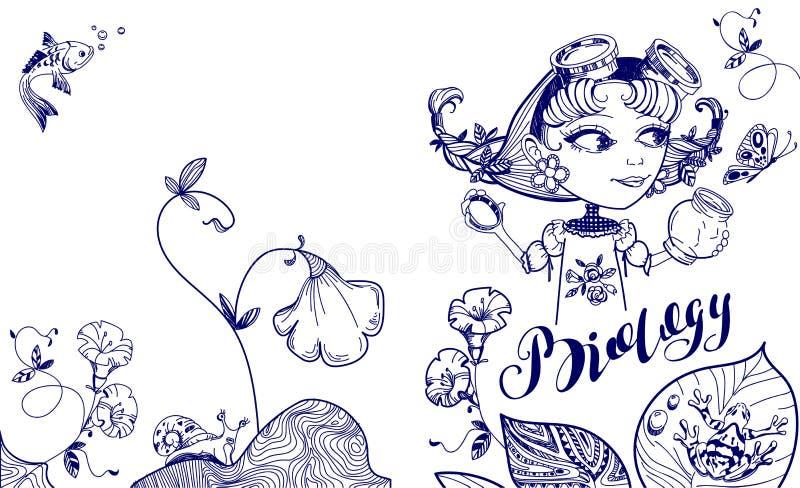 Hübsches Sonderlingsmädchen fängt Schmetterling im Glas Abdeckung Schablone für Biologie lizenzfreie abbildung