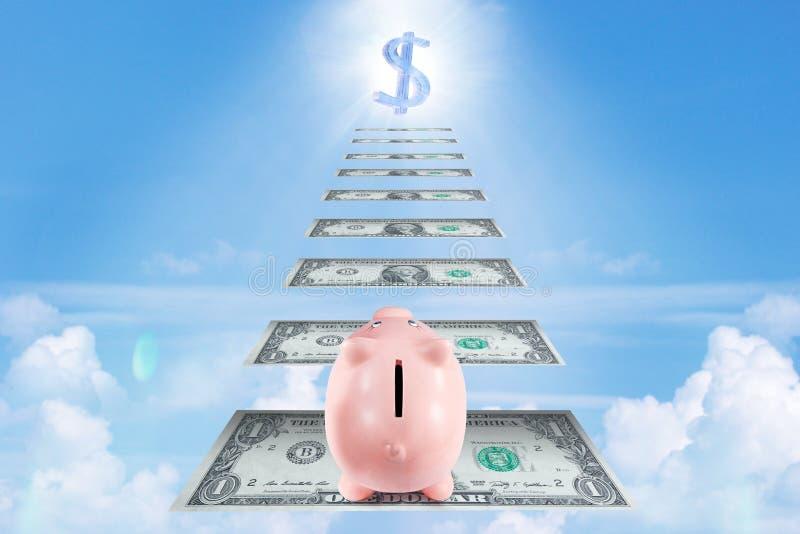 Hübsches Sparschwein-kletternde Treppe für den Reichtum und Erfolg gemacht von stockfotos