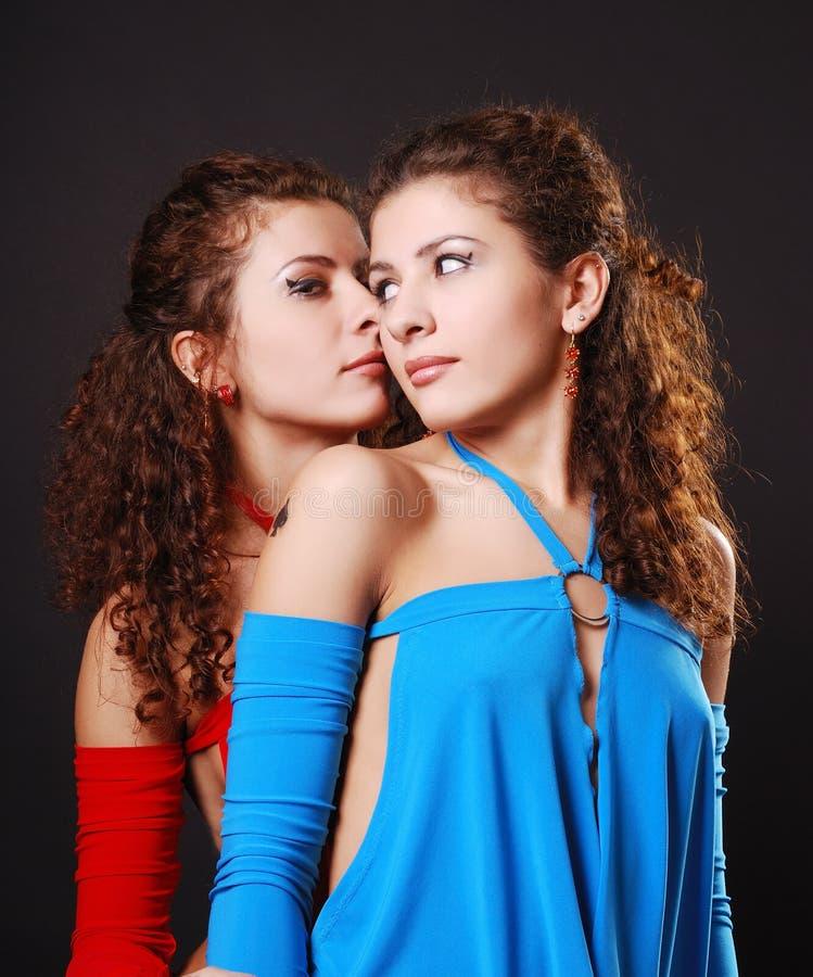 Hübsches Zwillingflüstern stockfotos