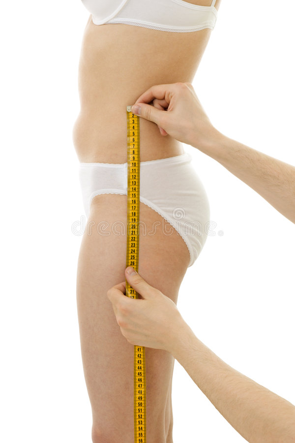 Hüftegröße der messenden Frau lizenzfreies stockbild
