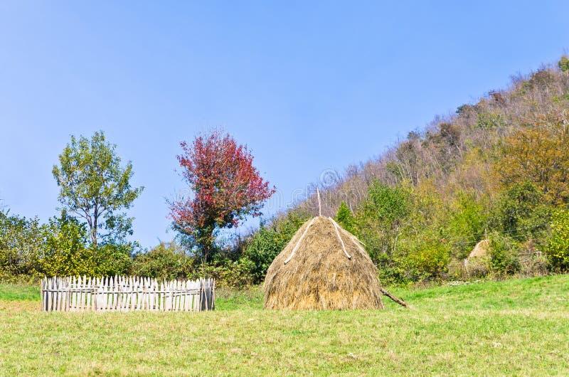 Hügel auf Berg Bobija, kleinem Bretterzaun, Heuschober und bunten Bäumen stockbilder