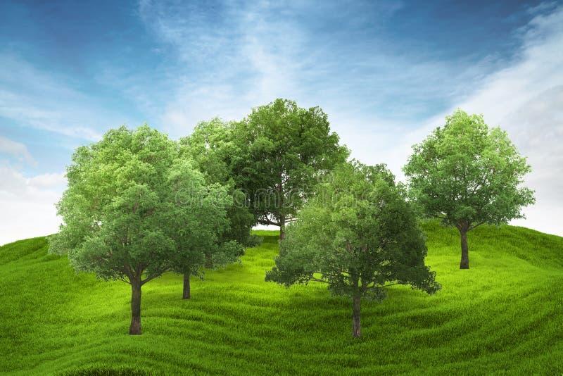 Hügel des grünen Grases mit Waldung unter blauem Himmel vektor abbildung