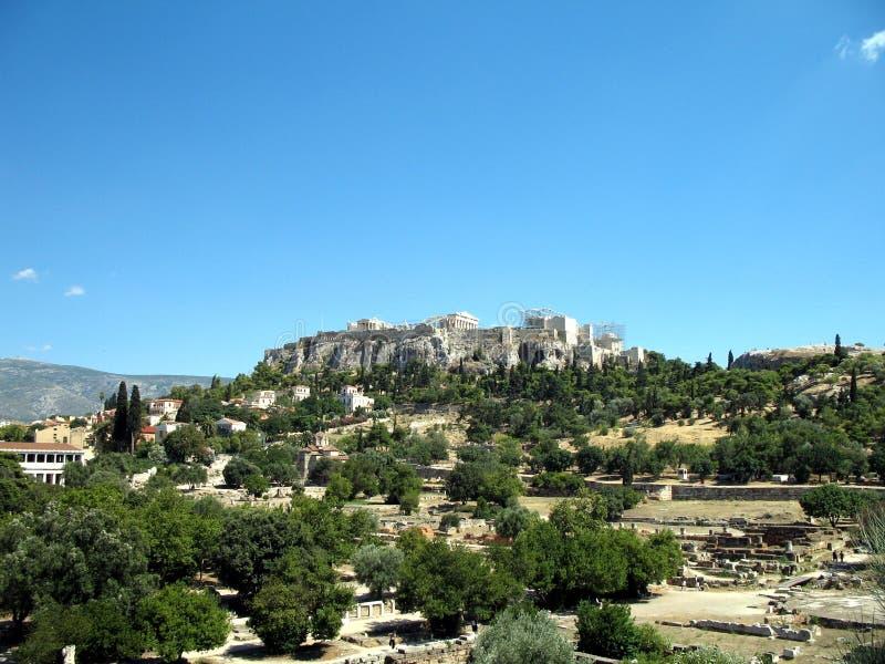 Hügel mit Akropolise von Athen, Griechenland lizenzfreies stockbild