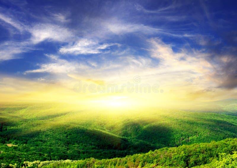 Hügel mit hölzerner und glänzender Sonne lizenzfreies stockbild