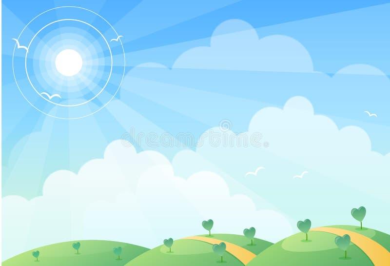 Hügel u. Sonne stock abbildung