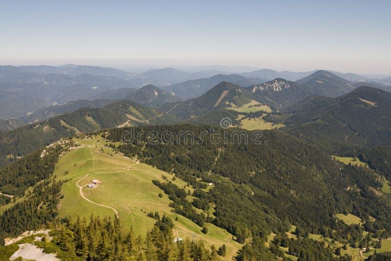 Hügel um das schneeberg stockfoto
