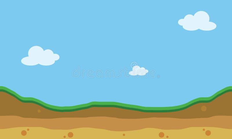 Hügellandschaft des Schattenbildes für Spielhintergründe stock abbildung