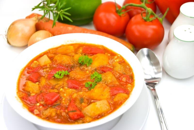 Hühnchenbrust Suppe-dämpft mit dem Mischgemüse lizenzfreie stockbilder