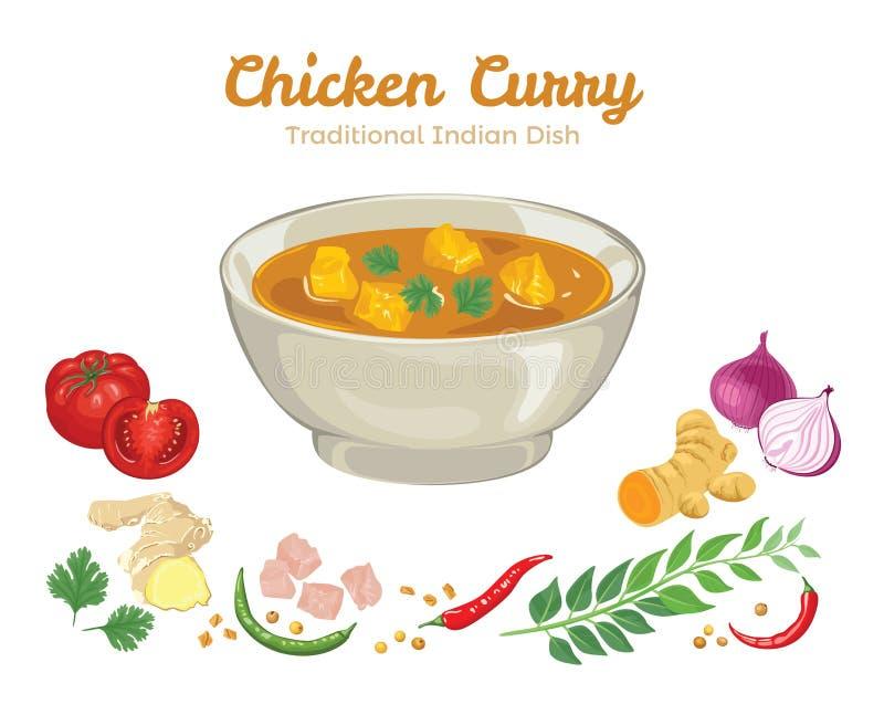 Hühnercurry Vektorillustration der populären Nahrung lizenzfreie abbildung