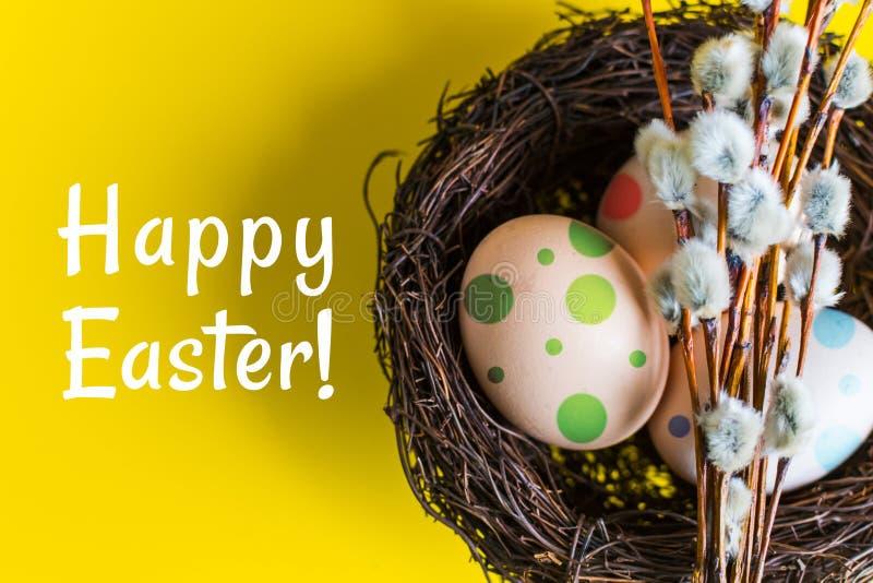 Hühnereien in einem Nest mit einem Zweig der Weide Glückliches Ostern-Konzept stockbild