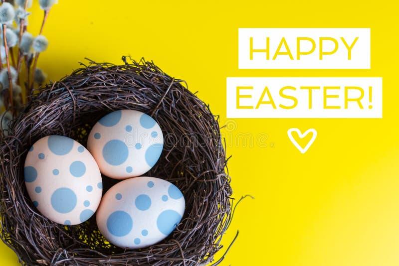 Hühnereien in einem Nest mit einem Zweig der Weide Glückliches Ostern-Konzept stockfotografie
