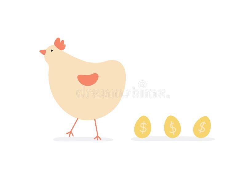 Hühnergoldenes Ei-Einkommens- aus geschäftlicher Tätigkeiterfolgs-Konzept lizenzfreie abbildung