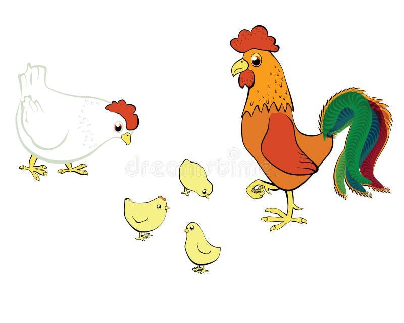 Hühnerhenne und -hahn lizenzfreie abbildung
