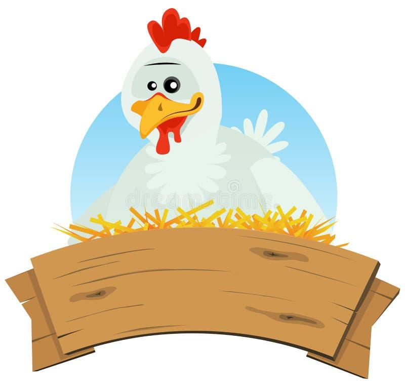 Hühnernest und Holz-Fahne vektor abbildung