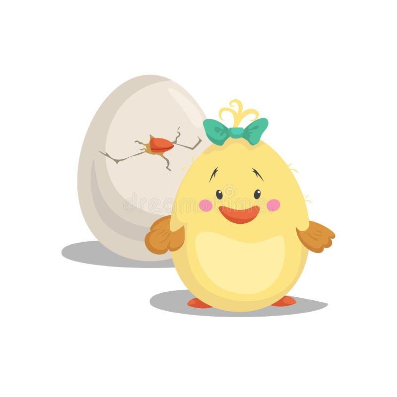 Hühnerneugeborenes Mädchen mit dem grünen Bogen, der Front bleibt, brütete Ei aus Modischer Designfrühling der Karikatur flach un lizenzfreie abbildung