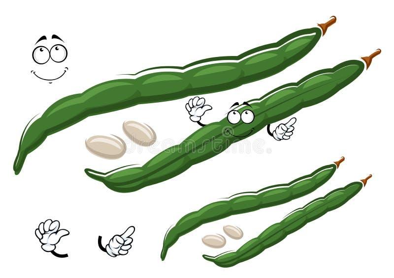 Hülsen der grünen Bohne der Karikatur mit weißen Samen lizenzfreie abbildung