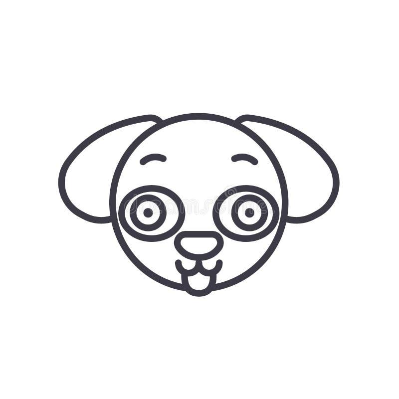 Hündchen Emoji-Konzeptlinie editable Vektor, Konzeptikone Lineare Gefühlillustration Hündchen Emoji-Konzeptes vektor abbildung