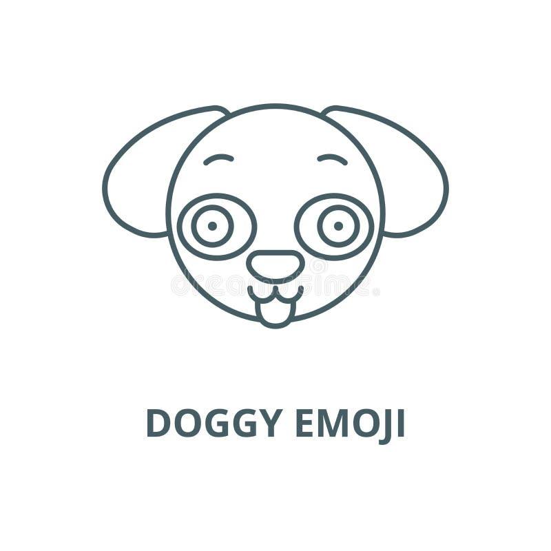 Hündchen emoji Linie Ikone, Vektor Hündchen emoji Entwurfszeichen, Konzeptsymbol, flache Illustration lizenzfreie abbildung