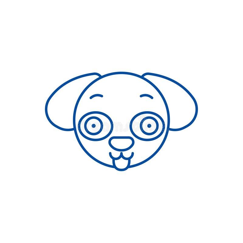 Hündchen emoji Linie Ikonenkonzept Hündchen emoji flaches Vektorsymbol, Zeichen, Entwurfsillustration stock abbildung