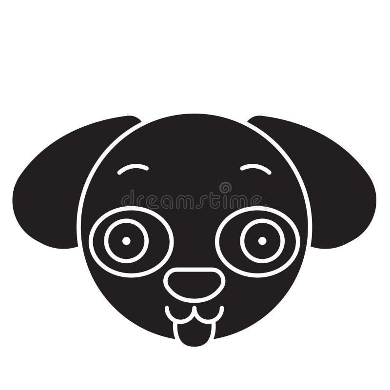 Hündchen emoji Schwarzvektor-Konzeptikone Hündchen emoji flache Illustration, Zeichen stock abbildung