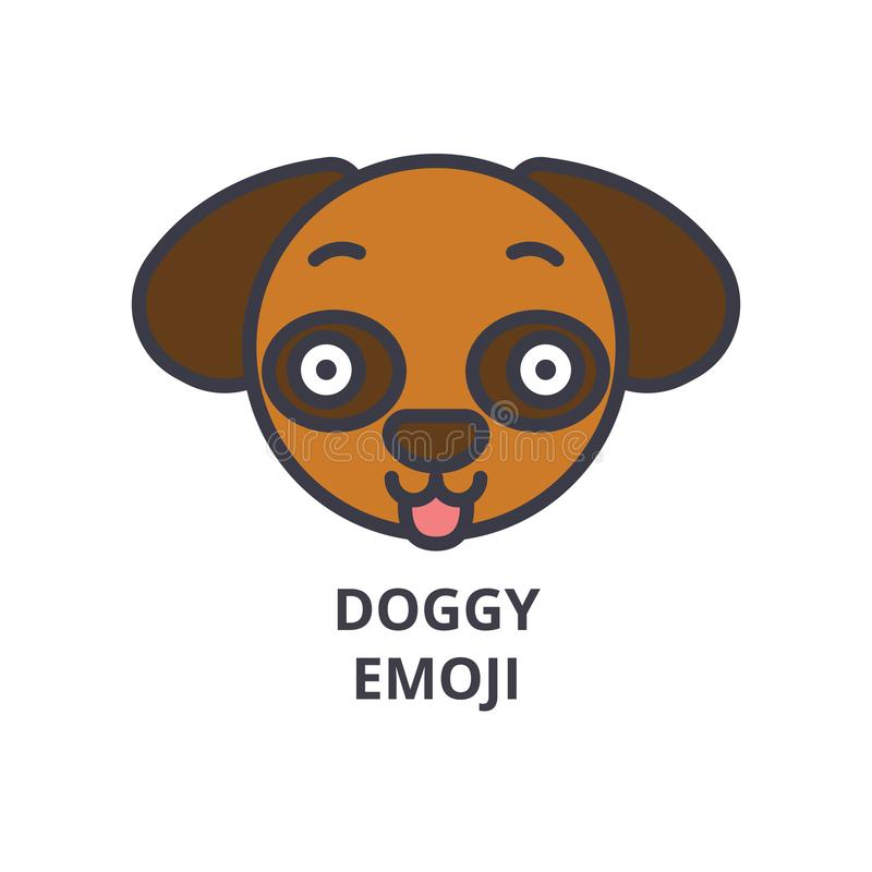 Hündchen emoji Vektorlinie Ikone, Zeichen, Illustration auf Hintergrund, editable Anschläge stock abbildung