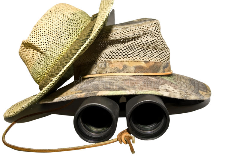 Hüte und Binokel lizenzfreies stockbild