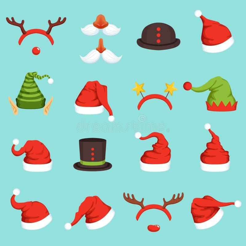 Hüte von verschiedenen Weihnachtscharakteren Kappe von Sankt, von Elfe und von Schneemann Vektorillustrationen in der Karikaturar vektor abbildung