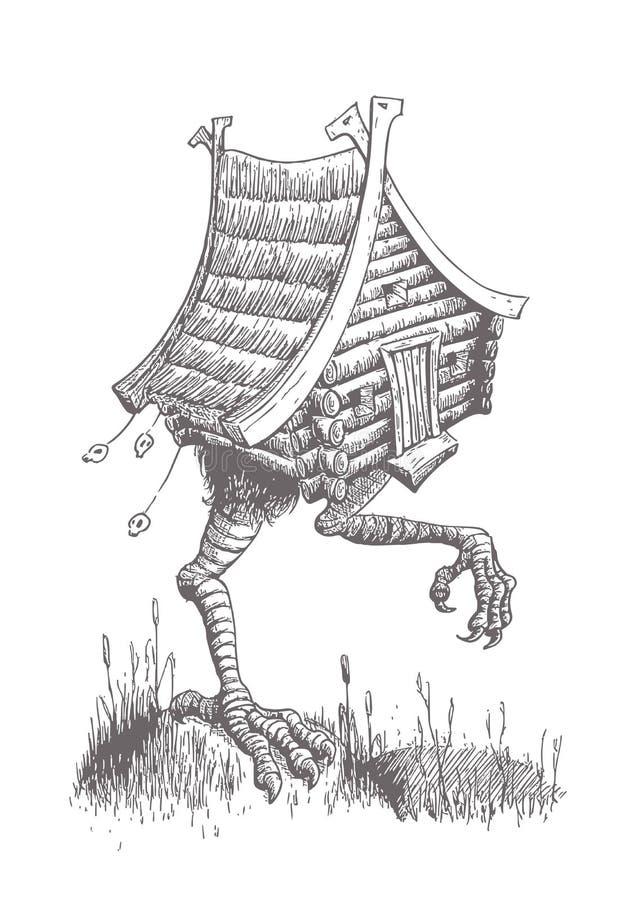 Hütte auf Hühnerbeinen läuft den Sumpf durch Der Charakter von stock abbildung