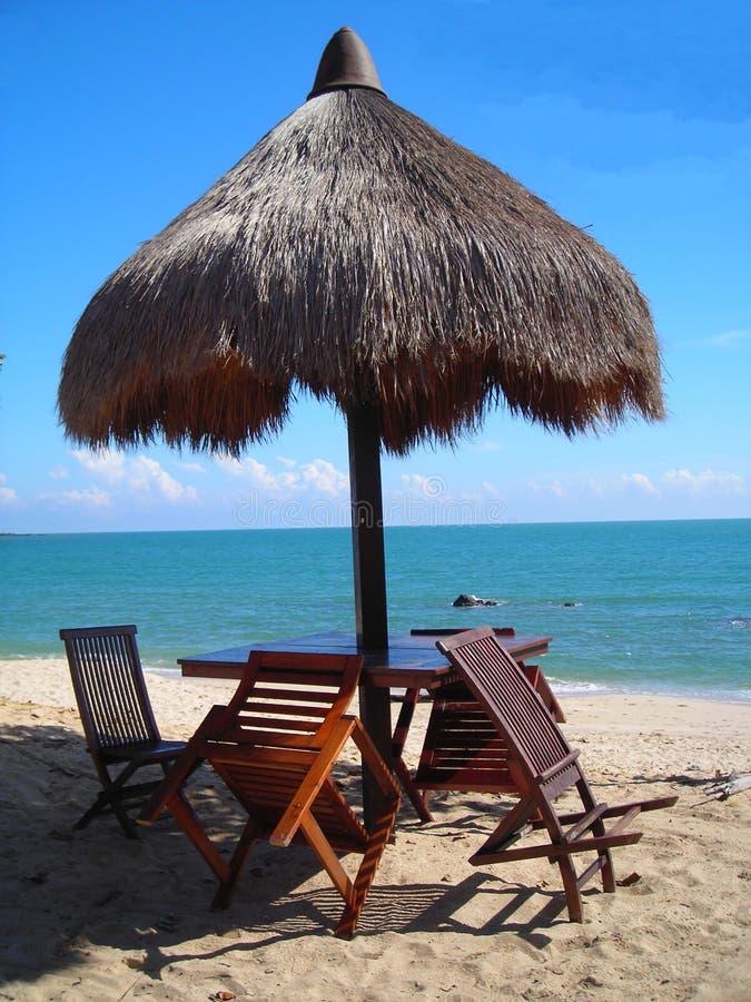 Hütte am Strand in Desaru, Malaysia morgens stockfoto