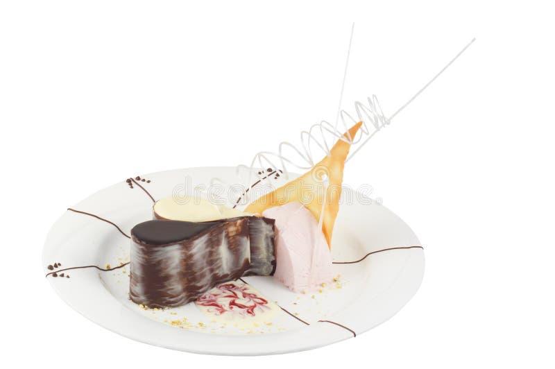 Hüttenkäsenachtisch mit Schokolade stockfotos