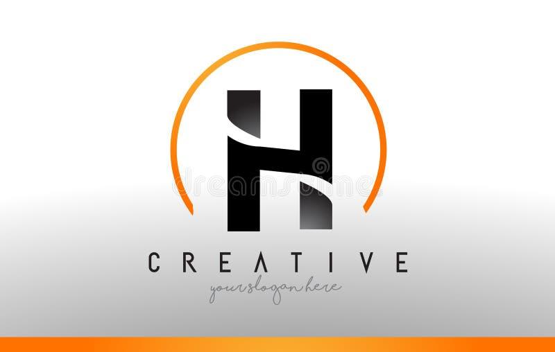 H信件与黑橙色颜色的商标设计 凉快的现代象T 皇族释放例证
