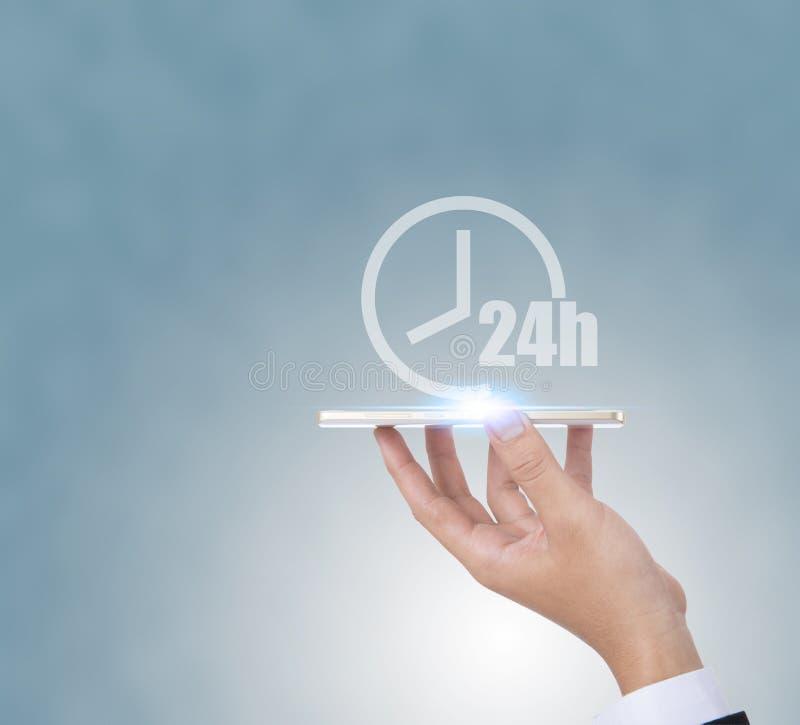 24h打开几小时传染媒介象 非停止工作商店或为sym服务 免版税图库摄影