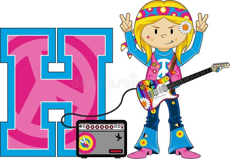 H är för hippie royaltyfri illustrationer